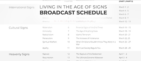 Living in the Age of Signs - Download the complete broadcast schedule