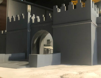 Miniature model of the backlot set from the front