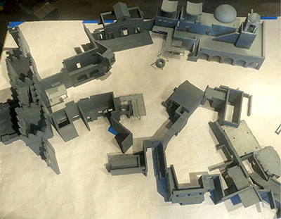 Overhead view of the miniature model of the backlot set