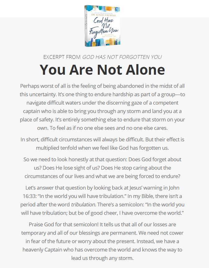 God Has Not Forgotten You - Excerpt