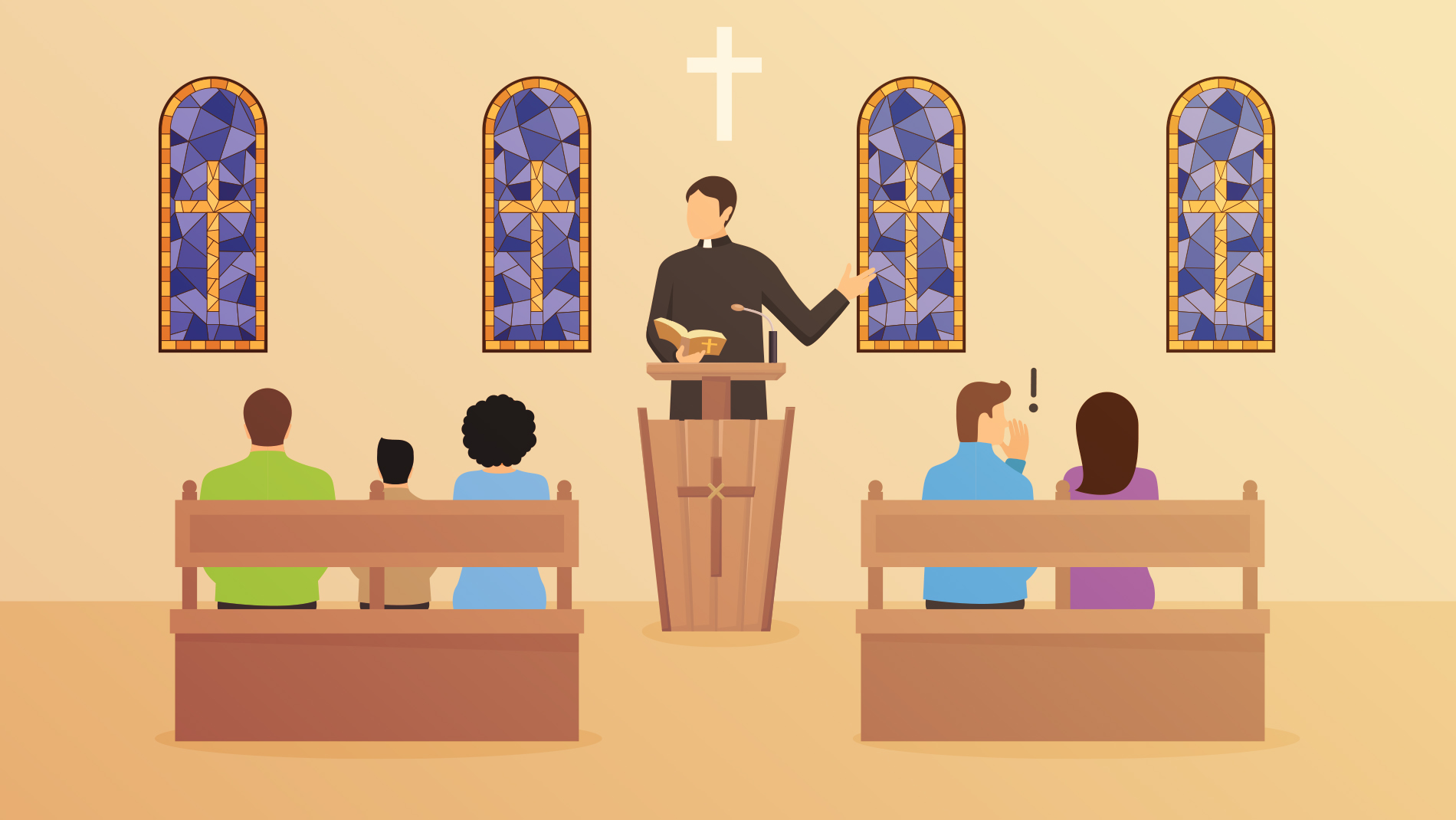 Image of a pastor preaching at the pulpit with people sitting in pews
