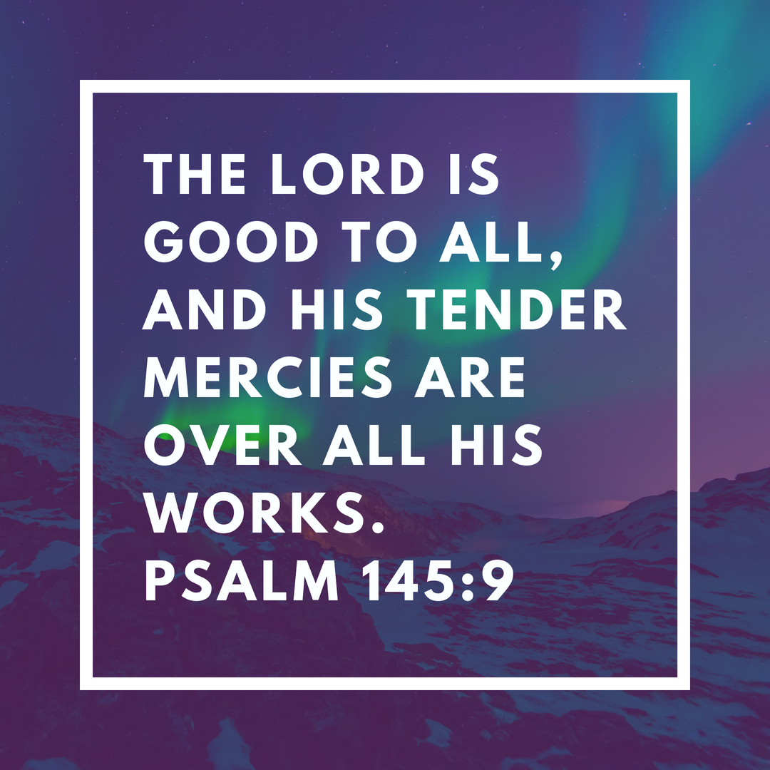 The Lord is Good to All, and His Tender Mercies Are Over All His Works. Psalm 145:9