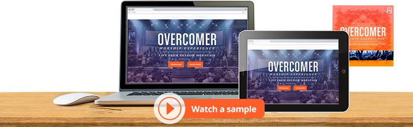 Devices with the Overcomer Worship experience background