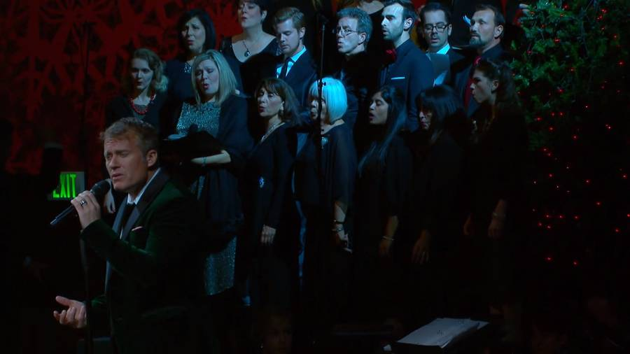 "Ensemble sings ""Silent Night"""